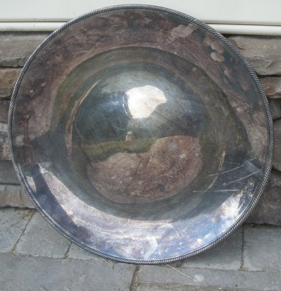 "Large Round 17"" Silver Plate Aspic Serving Tray / Platter by Castleton International Silver"