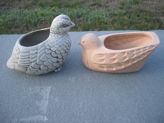 2 Vintage Bird Planters  Great Look and Texture
