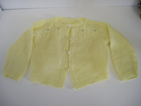 Adorable Owls Warm Fuzzies Baby Childs Handmade Sweater Yellow Cardigan
