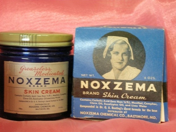 Vintage Noxzema Blue Jar With Lid and Originial Box