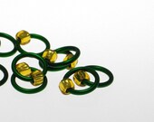 Medium Stitch Markers Green\/Gold  Fits up to a US8\/5mm - Snag\/Tangle Free - Free shipping