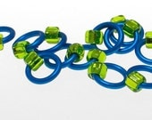 NEW COLOR Tiny sock stitch markers (fits up to a US3-4) Turquoise\/Lime Green - FREE SHIPPING