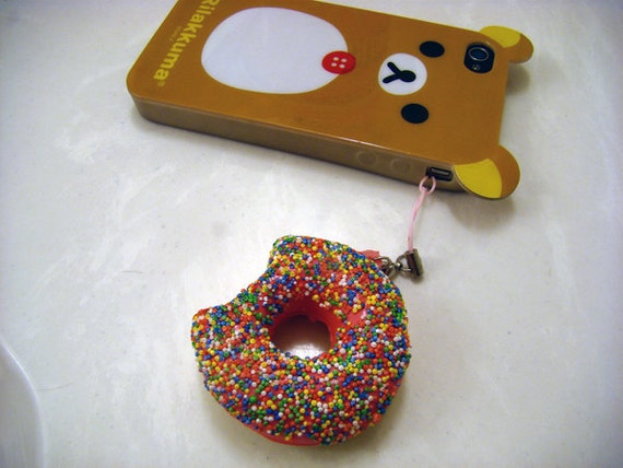 Rainbow Sprinkle Squishy Donut Cell Phone Charm Keychain or