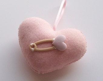 SUPER CUTE PROMO : Baby Pink Handmade Felt Love Heart with Heart Pin
