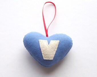 SUPER CUTE PROMO : Handmade Felt Love Heart - Letter V - assorted colours