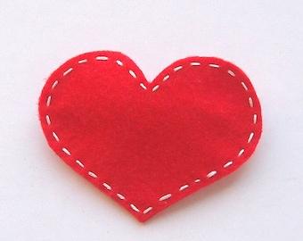 Handmade Felt Love Heart Hair Slide - Red