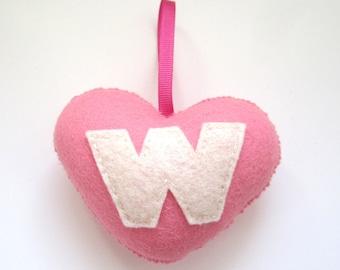 SUPER CUTE PROMO : Handmade Felt Love Heart - Letter W - Blush Pink