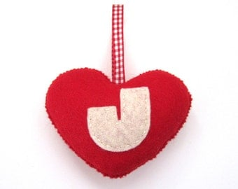 SUPER CUTE PROMO : Handmade Felt Love Heart - Letter J - assorted colours
