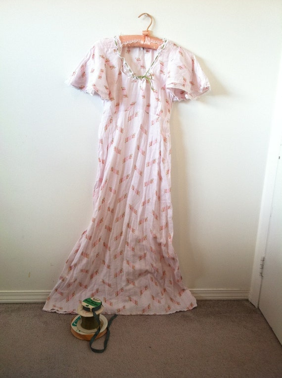 Sale vintage long floral white nightie or maxi dress