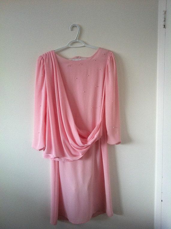 Vintage pink 1920s draped dress