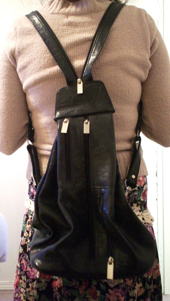 reserved for Doris sale Vintage 90s black grunge purse back pack interchangeable 3 or more purses in one