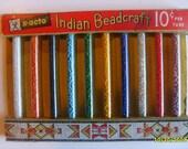 Vintage X-acto Seed Beads in original package Indian Beadcraft