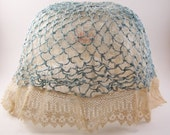 vintage 1920s lingerie hat victirian hat 20s sexy look light blue and white