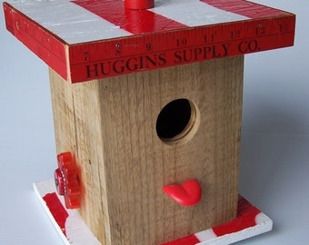 red ruler bird house white red tongue birdhouse hand made birdhouse