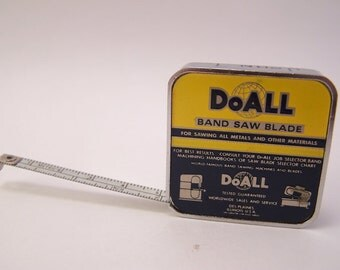 vintage 1980s band saw blade doall metal measuring tape metal tape inches white tape
