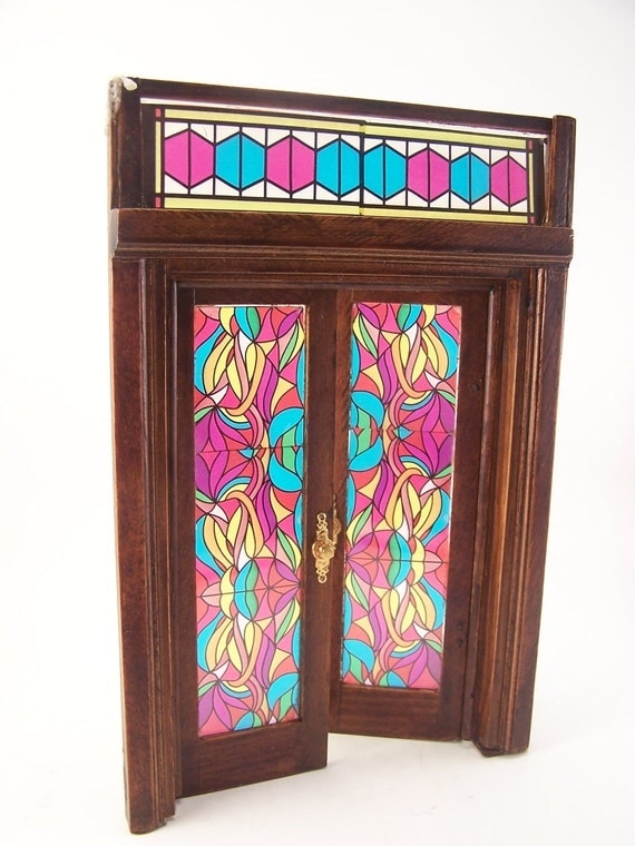 vintage doll house french door wooden doors blue green red stained glass patterns