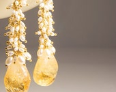 Long dangle earrings. Citrine drops hang from hand linked freshwater pearls - Honey drops