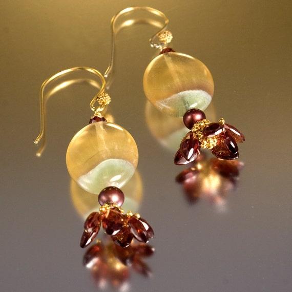 Garnet drop earrings. Beaded earrings with striped fluorite - Red Velvet