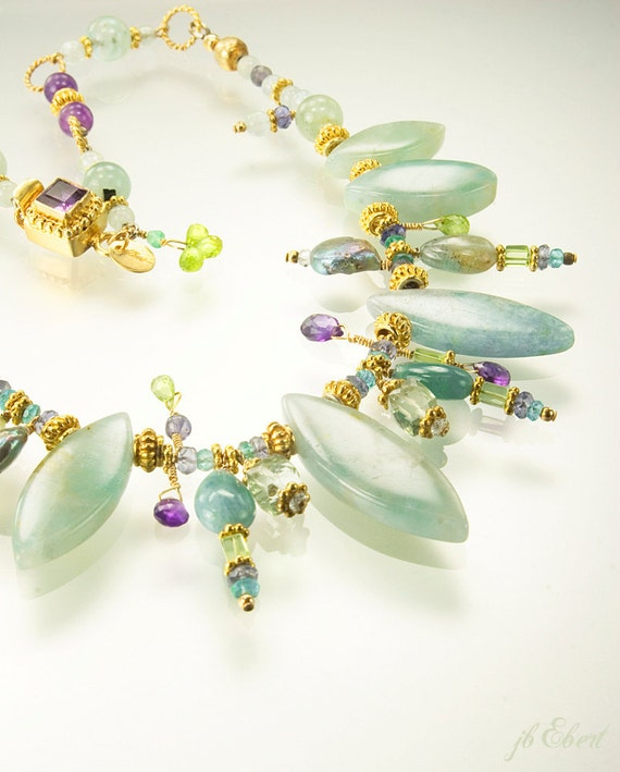 Gemstone beaded necklace of aquamarine amethyst peridot in vermeil - Liberty's Peacock