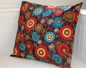 REDUCED TO CLEAR retro floral brown orange blue cushion cover , 16 inch flowers pillow cover
