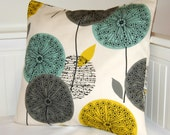 mustard teal grey pillow cover, dandelion flower cushion cover 20 inch