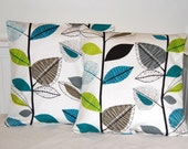 pair of blue lime green grey leaves cushion covers, 16 inch decorative pillow covers