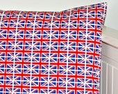 Union Jack  cushion cover, red white and blue flags pillow cover 16 inch