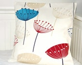 decorative pillow cover seed heads 16 inch, red blue beige dandelion cushion cover