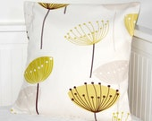 RESERVED FOR BB pillow cover seed head 14 inch, grey, pale mustard cushion cover