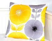 REDUCED TO CLEAR pillow cover yellow and grey poppies and leaves ,cushion cover 16 inch
