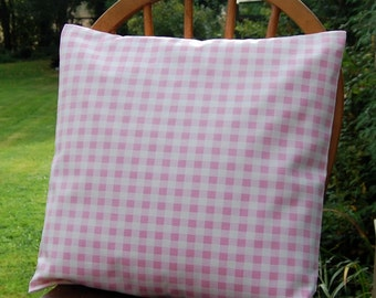 pink and white gingham check  cushion cover , 16 inch decorative pillow cover