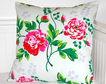 red and pink floral cushion cover 18 inch, decorative pillow cover flowers