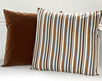 pair of cushion covers, brown tan blue grey stripe and brown velvet pillow cover 18 inch