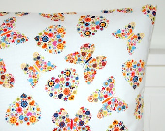 decorative pillow cover hearts and butterflies, orange flowers cushion cover 16 inch