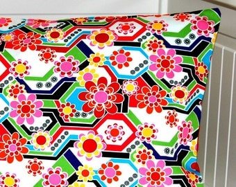 red pink green yellow flower retro style cushion cover,  12 x 20 inch decorative pillow cover