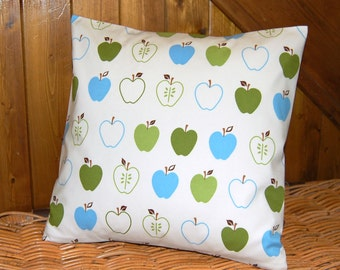 REDUCED TO CLEAR apples cushion cover, green and blue apple 16 inch decorative pillow cover ,