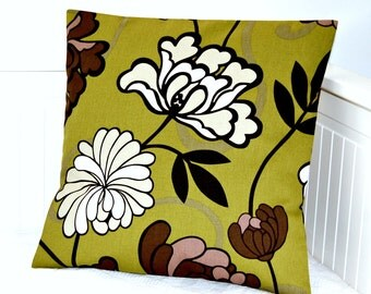REDUCED TO CLEAR retro decorative pillow cover olive green, brown, white and beige flower leaves stems ,16 inch cushion cover