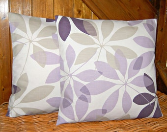 pair of lilac aubergine plum beige leaves cushion covers , decorative pillow covers 16 inch
