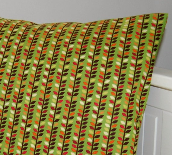 REDUCED TO CLEAR pillow cover green red leaves yellow orange cream brown cushion cover 16 inch