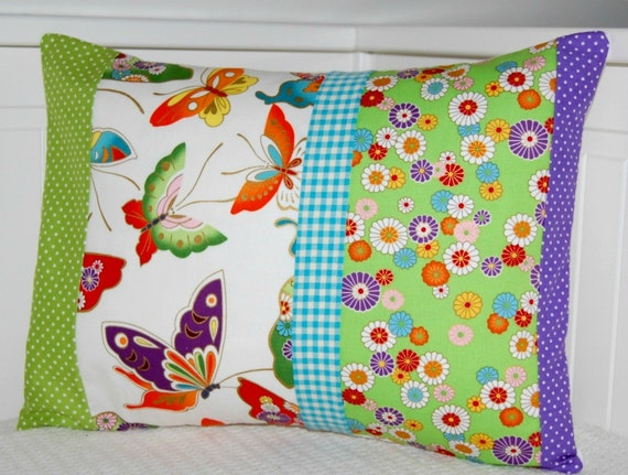 decorative pillow cover butterflies flowers gingham,  cushion cover  OOAK 12 x 16 inch