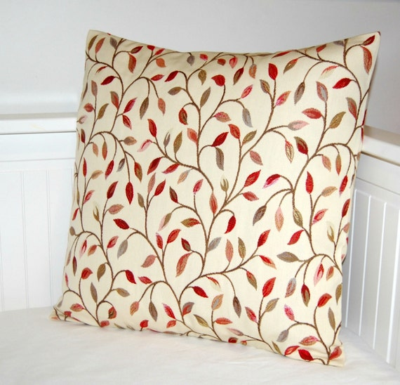 RESERVED RESERVED cream cushion cover, pillow cover with leaves 18 inch