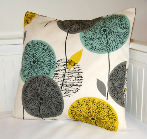 teal grey mustard pillow cover, flower cushion cover 18 inch - made to order