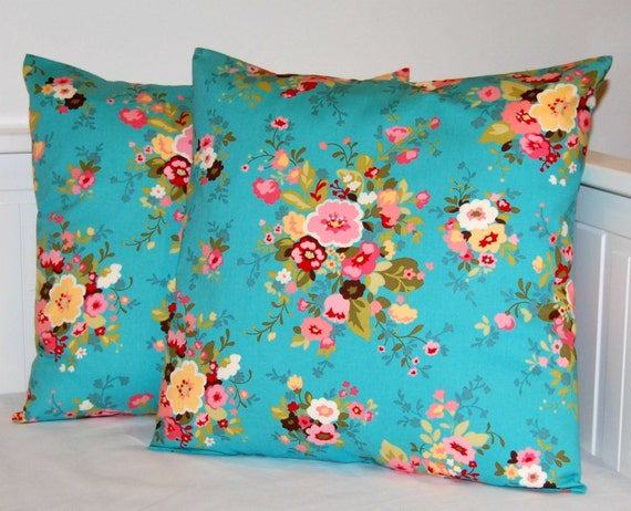 Pair of shabby chic pillow covers, blue pink flowers decorative covers 18 inch