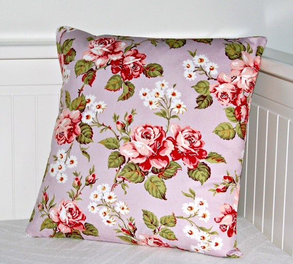 REDUCED TO CLEAR lilac cushion cover shabby chic roses pillow cover 14 inch
