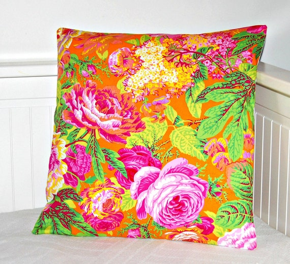 decorative orange pillow cover, flowers cushion cover 16 inch