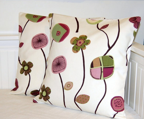 pair of plum olive pink retro flowers cushion covers, decorative pillow covers 16 inch