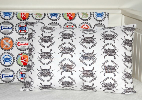 seaside pillow cover, grey and white 12 x 18 inch crab cushion cover
