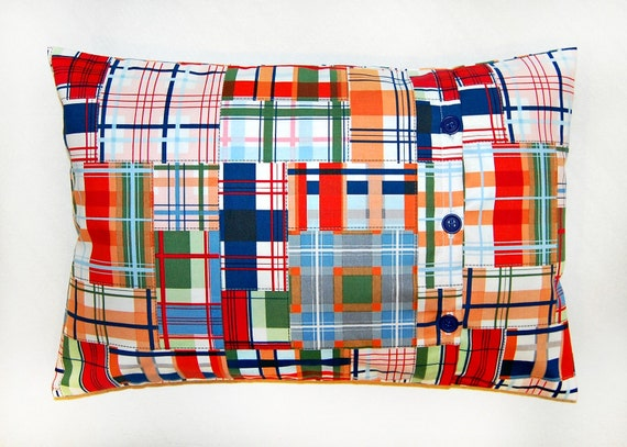 plaid pillow cover, orange red blue green and white 12 x 18 inch check cushion cover