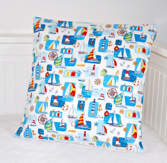 boats cushion cover, 16 inch blue coastal seaside decorative pillow cover