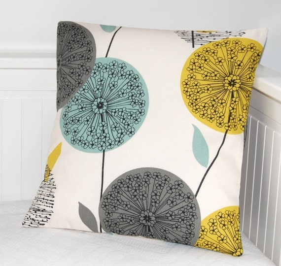 decorative pillow cover ,teal blue grey mustard yellow dandelion cushion cover, flower pillow cover 16 inch